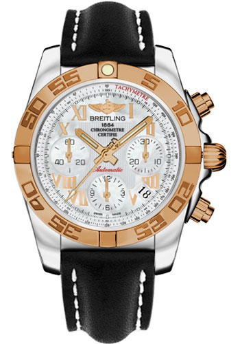 Breitling Watches - Chronomat 41 Steel and Gold Polished Bezel - Leather Strap - Deployant - Style No: CB014012/A748-leather-black-deployant