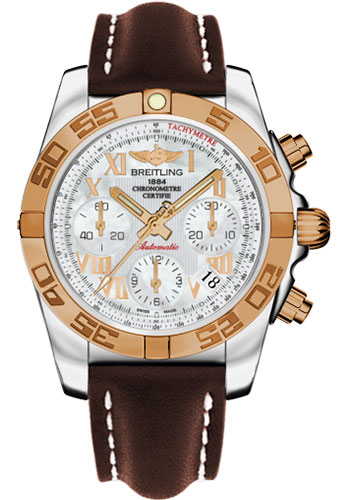 Breitling Watches - Chronomat 41 Steel and Gold Polished Bezel - Leather Strap - Deployant - Style No: CB014012/A748-leather-brown-deployant