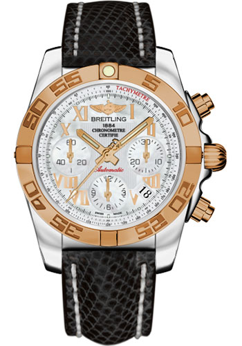Breitling Watches - Chronomat 41 Steel and Gold Polished Bezel - Lizard Strap - Deployant - Style No: CB014012/A748-lizard-black-deployant