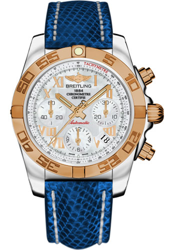 Breitling Watches - Chronomat 41 Steel and Gold Polished Bezel - Lizard Strap - Deployant - Style No: CB014012/A748-lizard-blue-marine-deployant