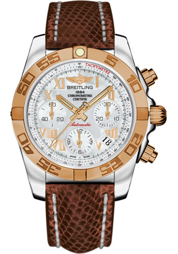 Breitling Watches - Chronomat 41 Steel and Gold Polished Bezel - Lizard Strap - Deployant - Style No: CB014012/A748-lizard-brown-deployant