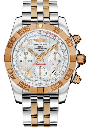 Breitling Watches - Chronomat 41 Steel and Gold Polished Bezel - Steel and Gold Pilot Bracelet - Style No: CB014012/A748-pilot-steel-rose-gold