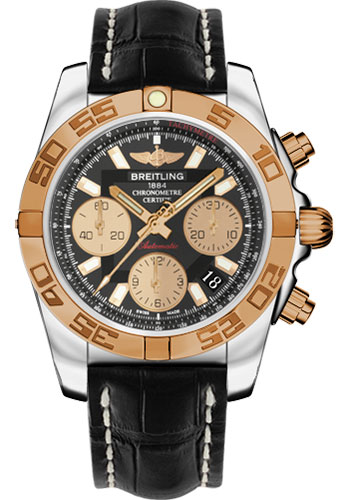 Breitling Watches - Chronomat 41 Steel and Gold Polished Bezel - Croco Strap - Deployant - Style No: CB014012/BA53-croco-black-deployant
