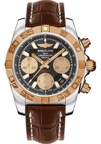 Breitling Watches - Chronomat 41 Steel and Gold Polished Bezel - Croco Strap - Deployant - Style No: CB014012/BA53-croco-brown-deployant
