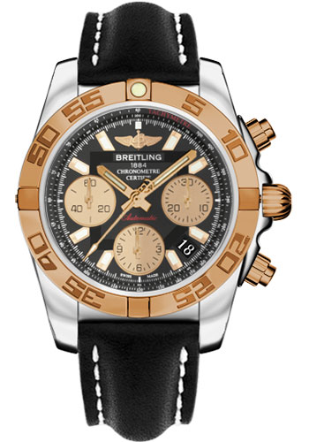 Breitling Watches - Chronomat 41 Steel and Gold Polished Bezel - Leather Strap - Deployant - Style No: CB014012/BA53-leather-black-deployant