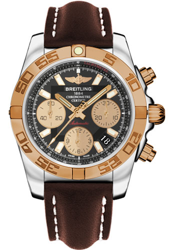 Breitling Watches - Chronomat 41 Steel and Gold Polished Bezel - Leather Strap - Deployant - Style No: CB014012/BA53-leather-brown-deployant
