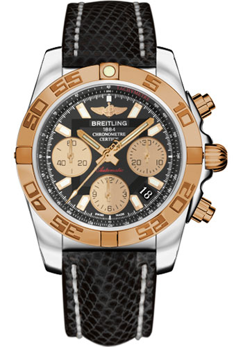 Breitling Watches - Chronomat 41 Steel and Gold Polished Bezel - Lizard Strap - Deployant - Style No: CB014012/BA53-lizard-black-deployant