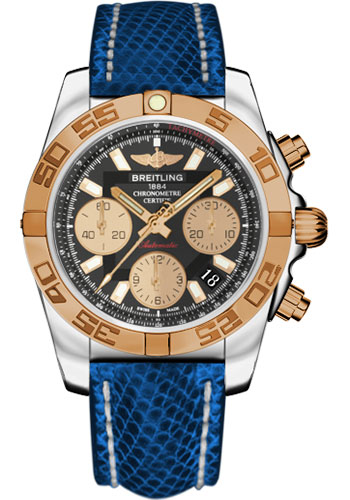 Breitling Watches - Chronomat 41 Steel and Gold Polished Bezel - Lizard Strap - Deployant - Style No: CB014012/BA53-lizard-blue-marine-deployant