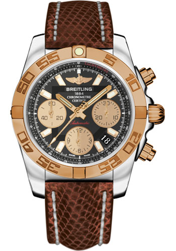 Breitling Watches - Chronomat 41 Steel and Gold Polished Bezel - Lizard Strap - Deployant - Style No: CB014012/BA53-lizard-brown-deployant
