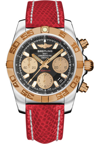 Breitling Watches - Chronomat 41 Steel and Gold Polished Bezel - Lizard Strap - Tang - Style No: CB014012/BA53-lizard-red-tang