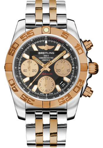 Breitling Watches - Chronomat 41 Steel and Gold Polished Bezel - Steel and Gold Pilot Bracelet - Style No: CB014012/BA53-pilot-steel-rose-gold
