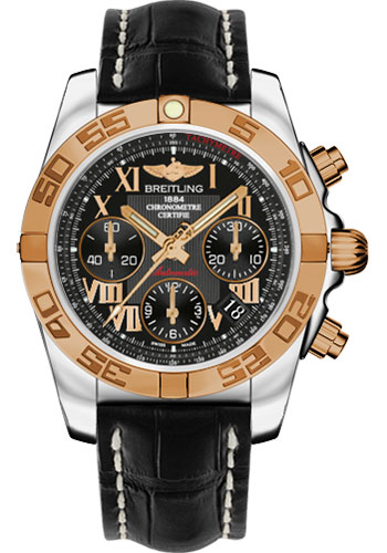 Breitling Watches - Chronomat 41 Steel and Gold Polished Bezel - Croco Strap - Tang - Style No: CB014012/BC08-croco-black-tang