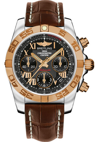 Breitling Watches - Chronomat 41 Steel and Gold Polished Bezel - Croco Strap - Deployant - Style No: CB014012/BC08-croco-brown-deployant