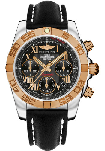Breitling Watches - Chronomat 41 Steel and Gold Polished Bezel - Leather Strap - Deployant - Style No: CB014012/BC08-leather-black-deployant