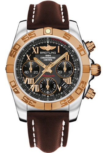 Breitling Watches - Chronomat 41 Steel and Gold Polished Bezel - Leather Strap - Deployant - Style No: CB014012/BC08-leather-brown-deployant