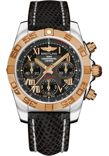 Breitling Watches - Chronomat 41 Steel and Gold Polished Bezel - Lizard Strap - Tang - Style No: CB014012/BC08-lizard-black-tang