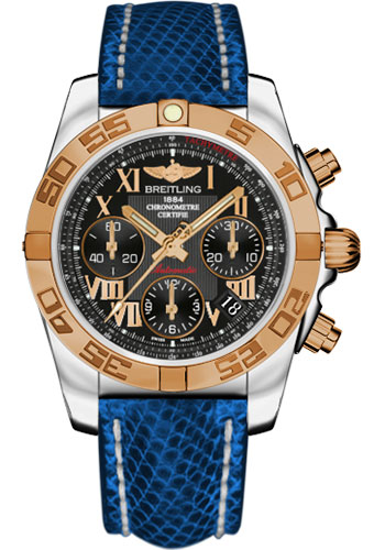 Breitling Watches - Chronomat 41 Steel and Gold Polished Bezel - Lizard Strap - Deployant - Style No: CB014012/BC08-lizard-blue-marine-deployant