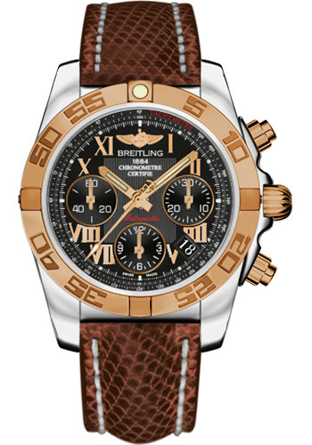 Breitling Watches - Chronomat 41 Steel and Gold Polished Bezel - Lizard Strap - Deployant - Style No: CB014012/BC08-lizard-brown-deployant