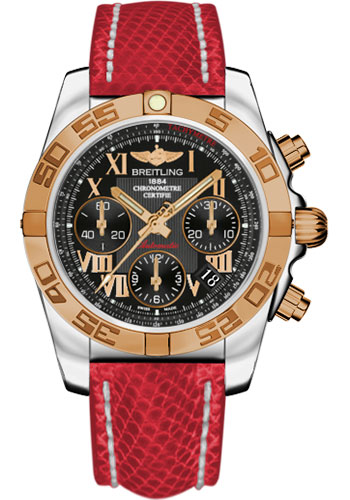 Breitling Watches - Chronomat 41 Steel and Gold Polished Bezel - Lizard Strap - Deployant - Style No: CB014012/BC08-lizard-red-deployant