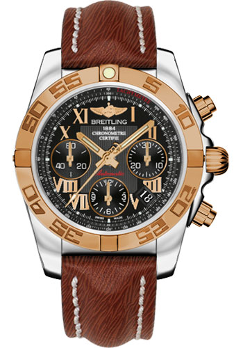 Breitling Watches - Chronomat 41 Steel and Gold Polished Bezel - Sahara Leather Strap - Style No: CB014012/BC08-sahara-brown-tang