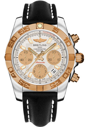 Breitling Watches - Chronomat 41 Steel and Gold Polished Bezel - Leather Strap - Tang - Style No: CB014012/G713-leather-black-tang