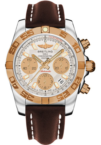 Breitling Watches - Chronomat 41 Steel and Gold Polished Bezel - Leather Strap - Deployant - Style No: CB014012/G713-leather-brown-deployant