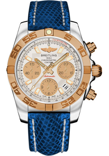 Breitling Watches - Chronomat 41 Steel and Gold Polished Bezel - Lizard Strap - Deployant - Style No: CB014012/G713-lizard-blue-marine-deployant