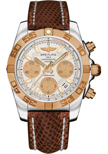 Breitling Watches - Chronomat 41 Steel and Gold Polished Bezel - Lizard Strap - Deployant - Style No: CB014012/G713-lizard-brown-deployant