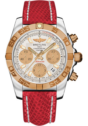 Breitling Watches - Chronomat 41 Steel and Gold Polished Bezel - Lizard Strap - Deployant - Style No: CB014012/G713-lizard-red-deployant