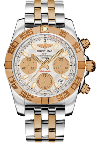Breitling Watches - Chronomat 41 Steel and Gold Polished Bezel - Steel and Gold Pilot Bracelet - Style No: CB014012/G713-pilot-steel-rose-gold