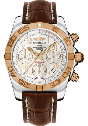 Breitling Watches - Chronomat 41 Steel and Gold Polished Bezel - Croco Strap - Deployant - Style No: CB014012/G759-croco-brown-deployant