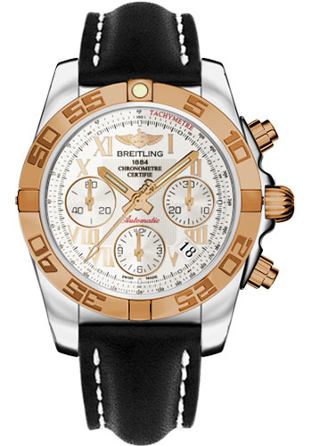 Breitling Watches - Chronomat 41 Steel and Gold Polished Bezel - Leather Strap - Deployant - Style No: CB014012/G759-leather-black-deployant