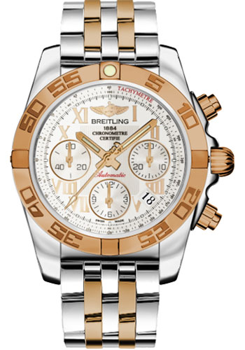 Breitling Watches - Chronomat 41 Steel and Gold Polished Bezel - Steel and Gold Pilot Bracelet - Style No: CB014012/G759-pilot-steel-rose-gold