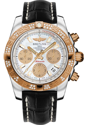 Breitling Watches - Chronomat 41 Steel and Gold Diamond Bezel - Croco Strap - Deployant - Style No: CB0140AA/A722-croco-black-deployant