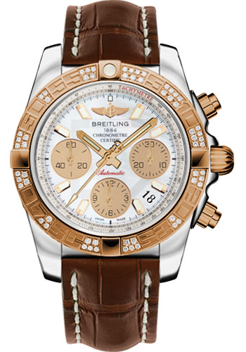 Breitling Watches - Chronomat 41 Steel and Gold Diamond Bezel - Croco Strap - Deployant - Style No: CB0140AA/A722-croco-brown-deployant