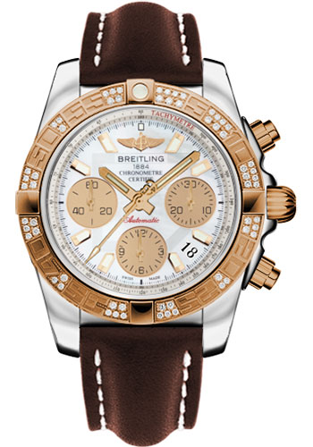 Breitling Watches - Chronomat 41 Steel and Gold Diamond Bezel - Leather Strap - Deployant - Style No: CB0140AA/A722-leather-brown-deployant