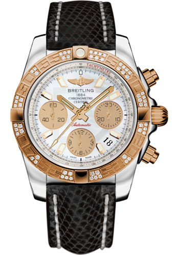 Breitling Watches - Chronomat 41 Steel and Gold Diamond Bezel - Lizard Strap - Tang - Style No: CB0140AA/A722-lizard-black-tang