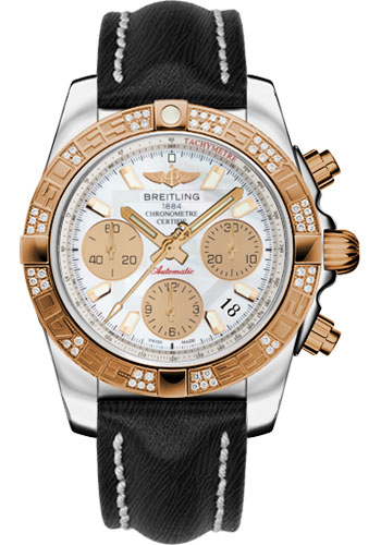 Breitling Watches - Chronomat 41 Steel and Gold Diamond Bezel - Sahara Leather Strap - Style No: CB0140AA/A722-sahara-black-tang