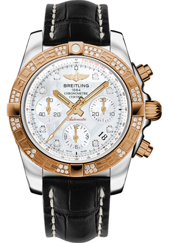 Breitling Watches - Chronomat 41 Steel and Gold Diamond Bezel - Croco Strap - Deployant - Style No: CB0140AA/A723-croco-black-deployant