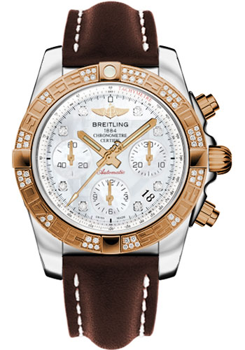 Breitling Watches - Chronomat 41 Steel and Gold Diamond Bezel - Leather Strap - Tang - Style No: CB0140AA/A723-leather-brown-tang