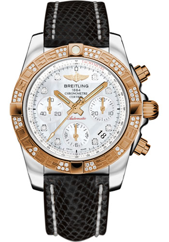 Breitling Watches - Chronomat 41 Steel and Gold Diamond Bezel - Lizard Strap - Tang - Style No: CB0140AA/A723-lizard-black-tang