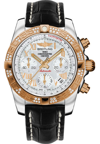 Breitling Watches - Chronomat 41 Steel and Gold Diamond Bezel - Croco Strap - Tang - Style No: CB0140AA/A748-croco-black-tang