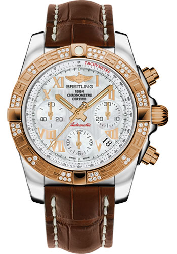 Breitling Watches - Chronomat 41 Steel and Gold Diamond Bezel - Croco Strap - Deployant - Style No: CB0140AA/A748-croco-brown-deployant