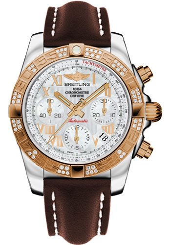 Breitling Watches - Chronomat 41 Steel and Gold Diamond Bezel - Leather Strap - Deployant - Style No: CB0140AA/A748-leather-brown-deployant