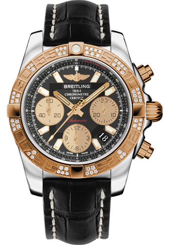 Breitling Watches - Chronomat 41 Steel and Gold Diamond Bezel - Croco Strap - Deployant - Style No: CB0140AA/BA53-croco-black-deployant