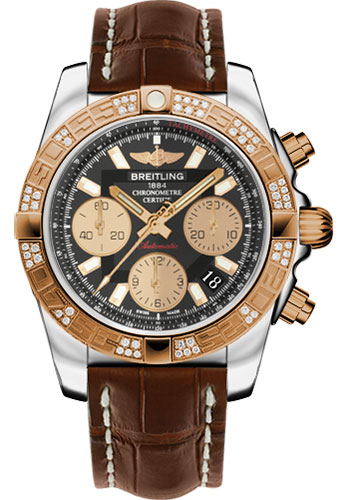 Breitling Watches - Chronomat 41 Steel and Gold Diamond Bezel - Croco Strap - Deployant - Style No: CB0140AA/BA53-croco-brown-deployant