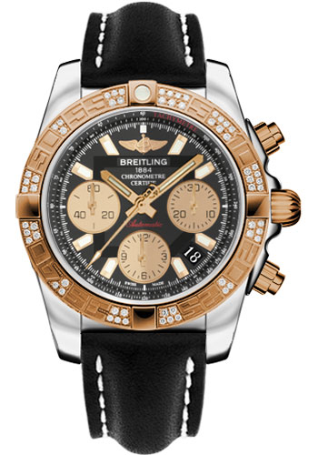 Breitling Watches - Chronomat 41 Steel and Gold Diamond Bezel - Leather Strap - Deployant - Style No: CB0140AA/BA53-leather-black-deployant