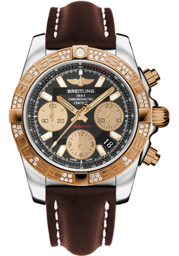 Breitling Watches - Chronomat 41 Steel and Gold Diamond Bezel - Leather Strap - Deployant - Style No: CB0140AA/BA53-leather-brown-deployant