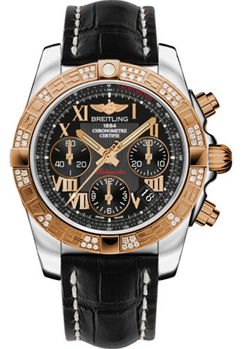 Breitling Watches - Chronomat 41 Steel and Gold Diamond Bezel - Croco Strap - Deployant - Style No: CB0140AA/BC08-croco-black-deployant