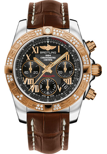 Breitling Watches - Chronomat 41 Steel and Gold Diamond Bezel - Croco Strap - Deployant - Style No: CB0140AA/BC08-croco-brown-deployant
